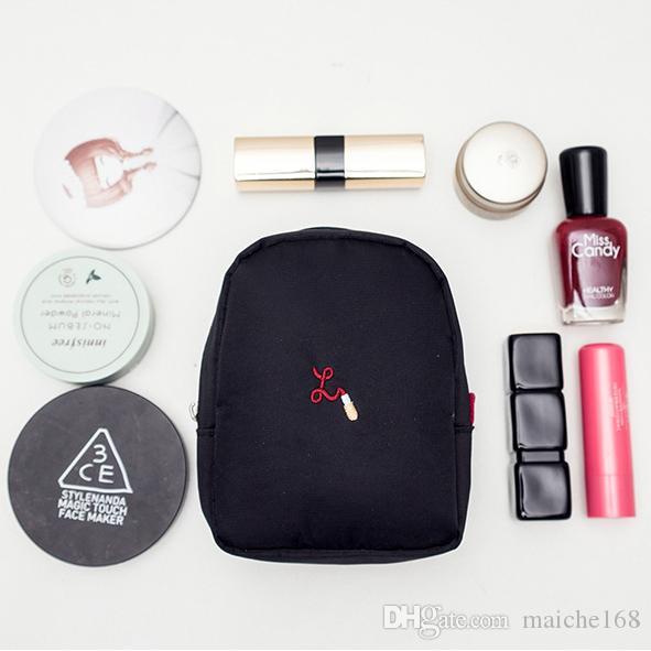 10 pcs Coréia portátil trompete bolsa de maquiagem à prova d 'água batom simples mini saco