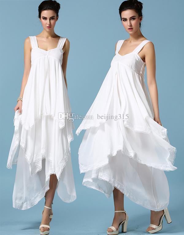 الصيف زائد حجم النساء السيدات الأبيض الشيفون كشكش اللباس غير المتكافئة فستان ماكسي طويل الرباط بثوب حزب فساتين السهرة