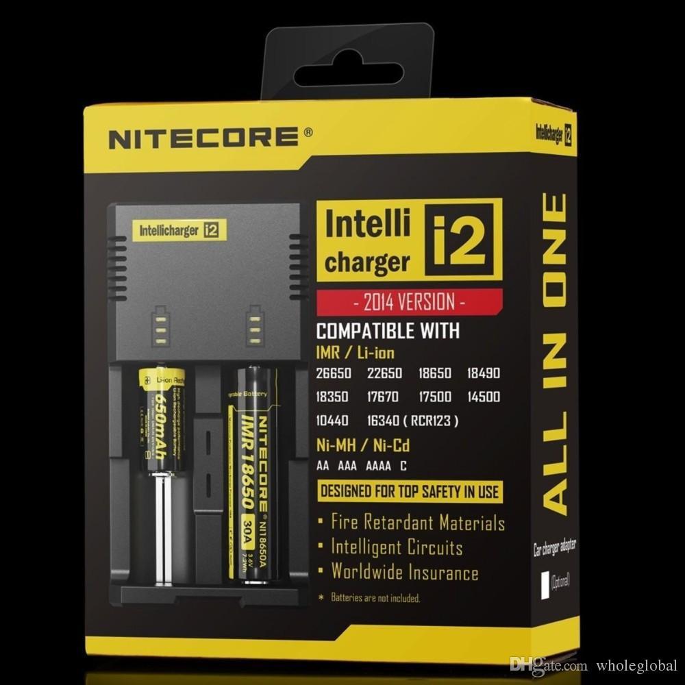 NITECORE I2 지능형 충전기 (18650 용) 14500 16340 26650 리튬 이온 배터리 (보안 코드 포함) 소매 상자 US / EU / AU / UK