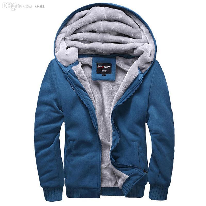 Atacado-Hot Sale 2015 Inverno Wadded jaqueta casaco com capuz masculino Hoodies Men Sweatshirt camisola espessamento Além de uniforme de beisebol de veludo
