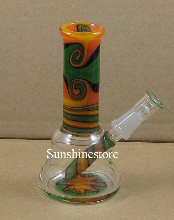 4 pulgadas de vidrio mini dab Bong rasta color petróleo plataforma w-ax WK-023 conjunta de 10 mm