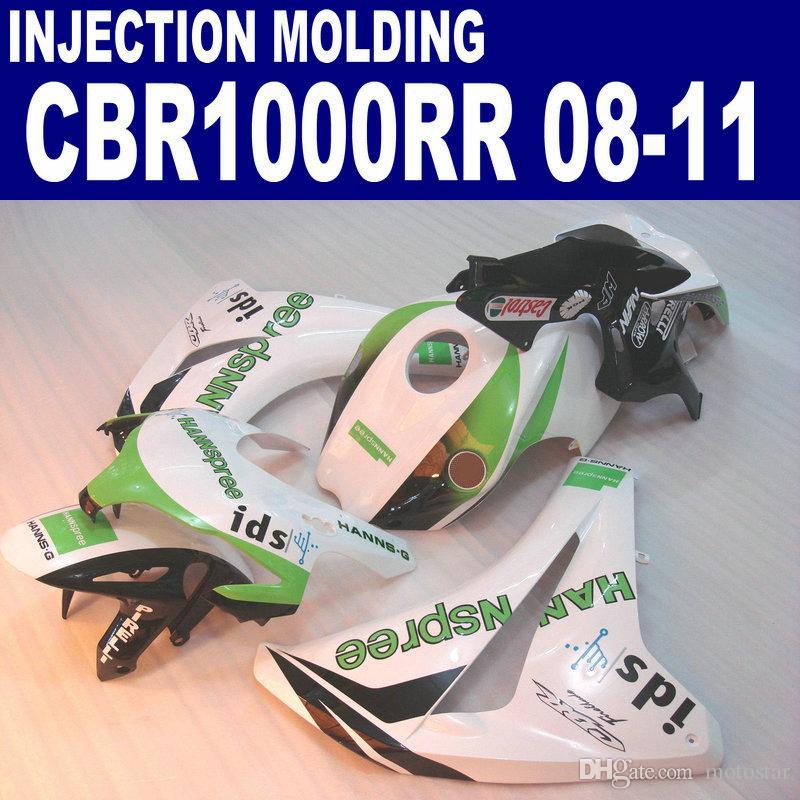 HONDA CBR1000RR 2008-2011 CBR 1000RR için enjeksiyon kalıplama plastik kaporta kiti beyaz yeşil HANNspree karoser kaportalar 08 09 10 11 # U26
