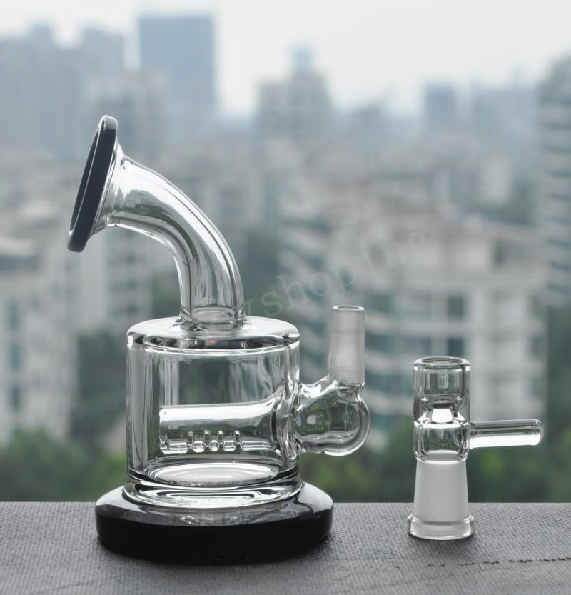 2020 Cheap Small Rig Two Function Clear Mini Thick Heavy Glass Inline Percolator Water Pipe Oil Rig Bong free shipping