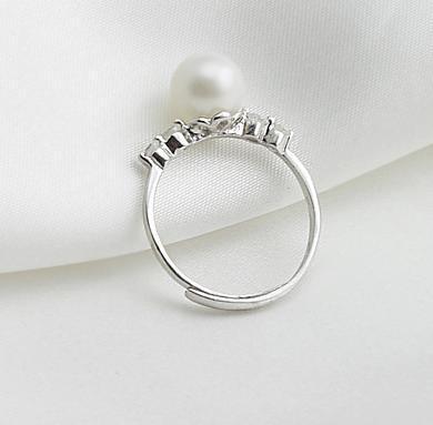 Hot sale Ms. 8-9mm natural pearl perfect circle 925 Silver Ring 0221