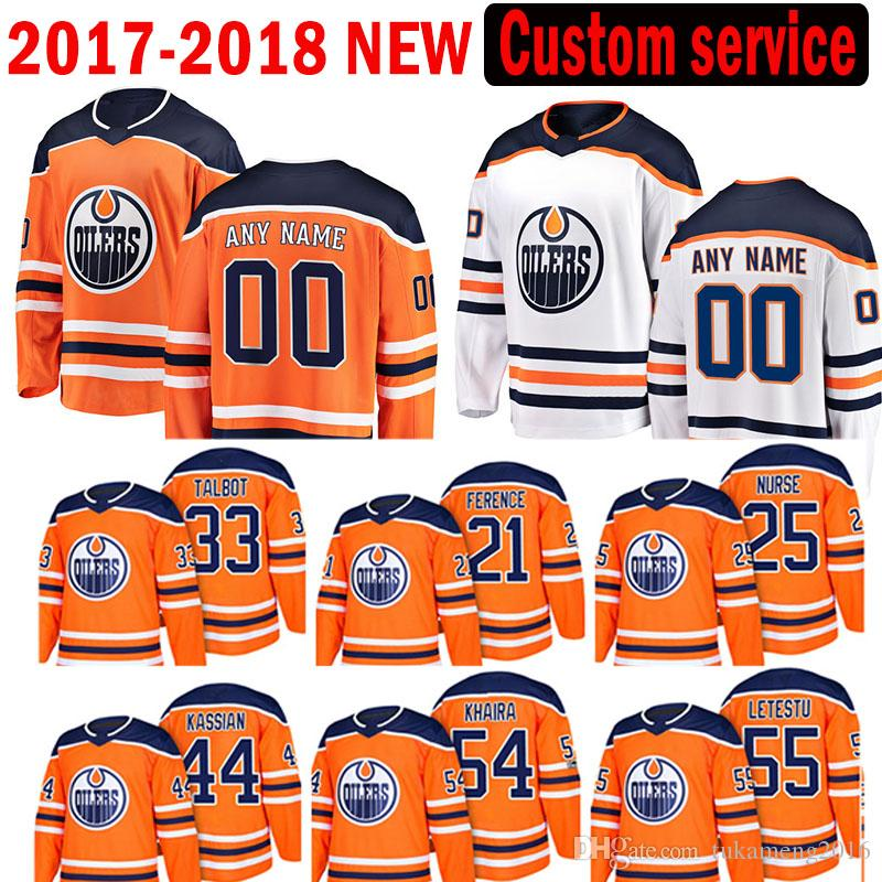 New Custom 2018 Edmonton Oilers 33 Cam Talbot 21 Andrew Ference Jersey 54 Jujhar Khaira 55 Mark Letestu 44 Zack Kassian Darnell enfermeira Jeseys