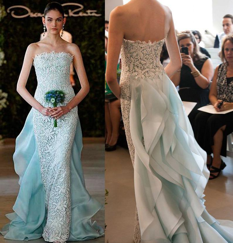 Light Blue Wedding Dresses Ruffle Back 2017 Oscar De La Renta Bridals Strapless Neckline Mermaid Gowns With Pearls And Crystals 2018 From