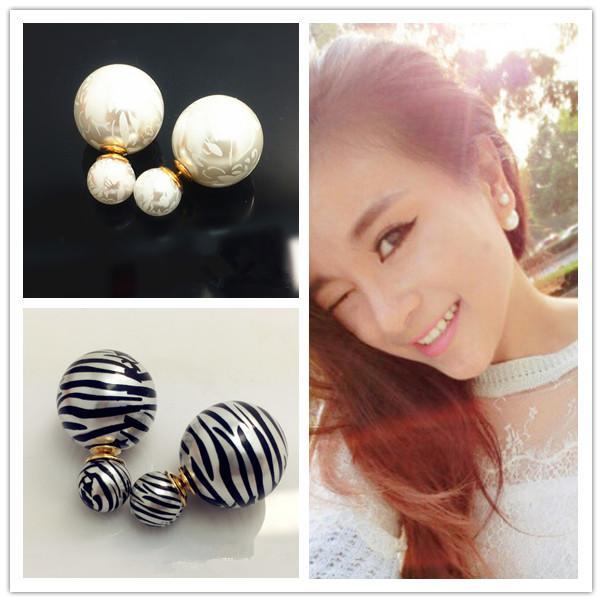 Celebrity Runway Pendientes de perlas dobles Perlas Plug Pendientes Ear Studs Pin Big Pearl Earrings