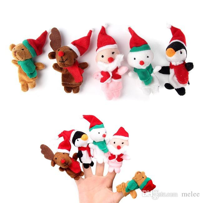 Hot Sale Christmas Finger Puppets Holiday Stocking Stuffers Party Favors Velvet Toy Doll hand puppets 500 pcs/lot