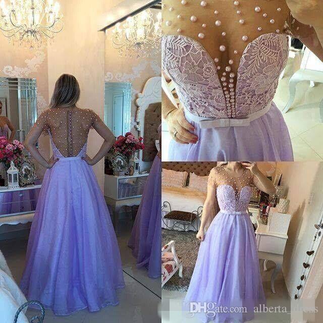 Lavendel Sheer Jewel Neck Chiffon Abendkleider 2019 Sexy Tiefer V-Ausschnitt Kurzen Ärmeln Perlen Illusion Zurück Prom Dresses Vestidos