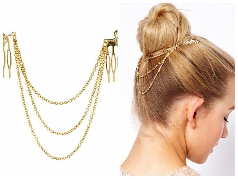 barato-fino Accesorios para el cabello de la vendimia Cadena de oro doble con la cabeza del peine de la hoja Nuevas diademas para las mujeres niña dama