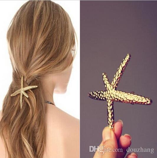Kadınlar Altın Metal Dövme Denizyıldızı Sea Star Tokalarım Klip Saç Takı Hairwear Kadınlar Gelin Aksesuar