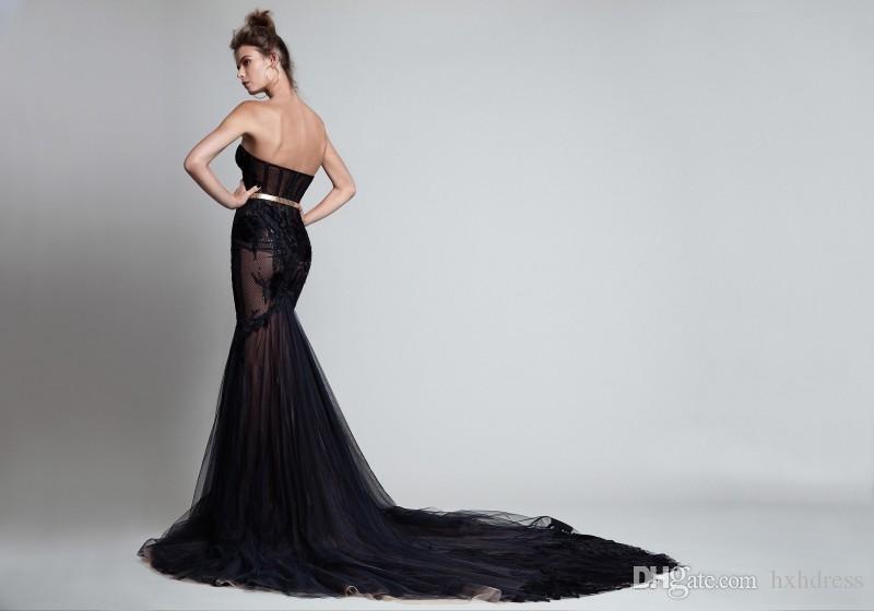 2019 New Illusion Backless Mermaid Abendkleider Spitze Applique Perlen Party Kleid Schatz Ausschnitt Plus Size Berta Sexy Abendkleid 242