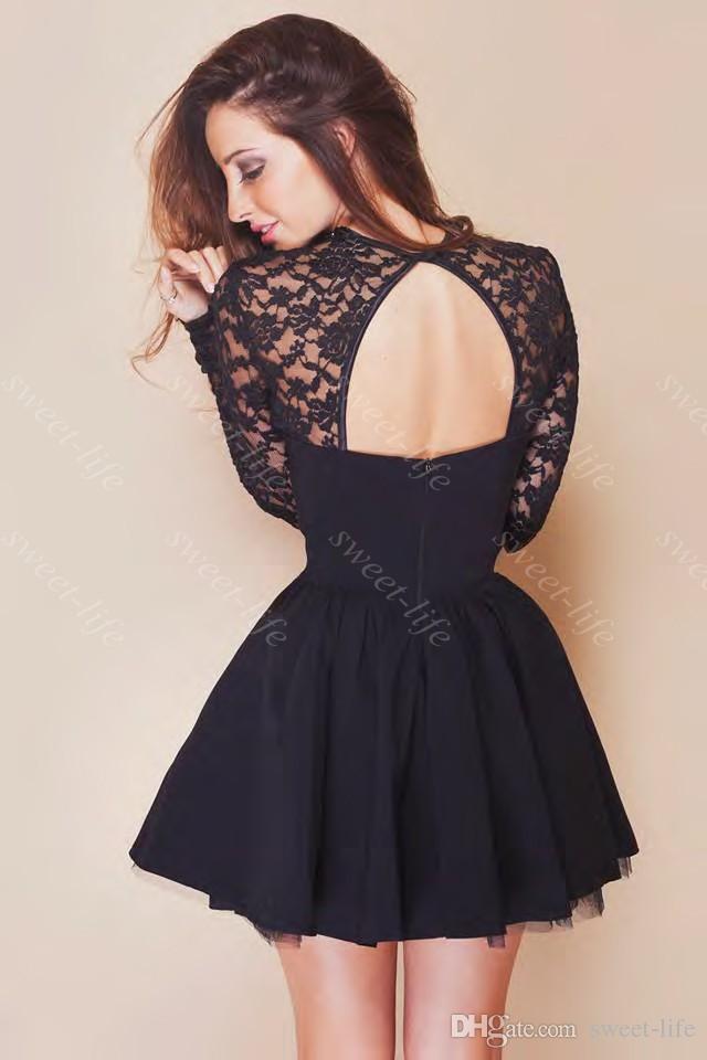 Cheap 2015 Cute Short Prom Dresses Cheap Black Lace Long Sleeve ...
