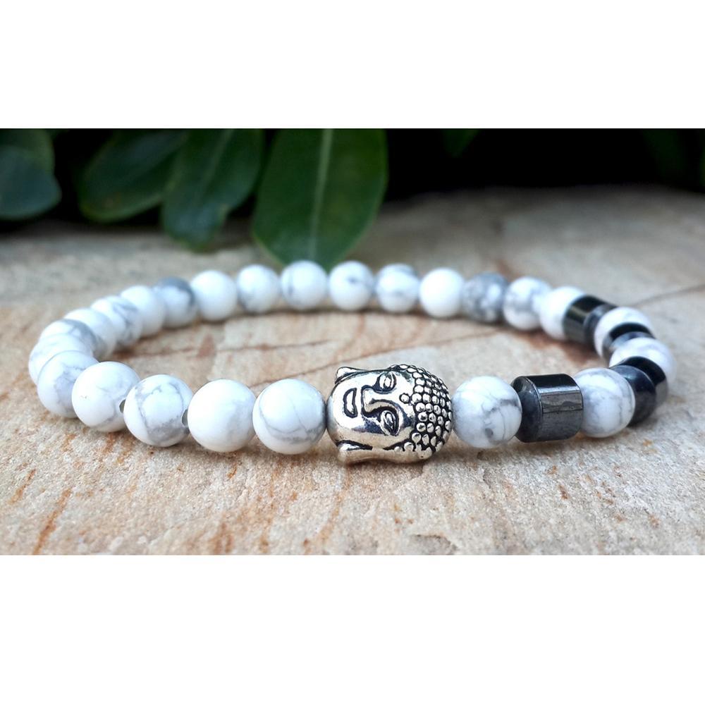 SN0272 2015 Best Sale Armband Boeddha Armband Natuurlijke Witte Turquoise Black Gallstone Bracelet Trendy Gratis verzending