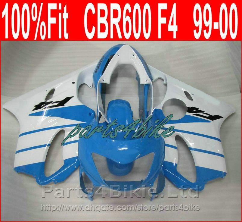 Parti corpo bianco blu chiaro per carene Honda CBR 600 F4 1999 2000 kit carene iniezione stampo CBR600 F4 99 00 aftermarket XSC9
