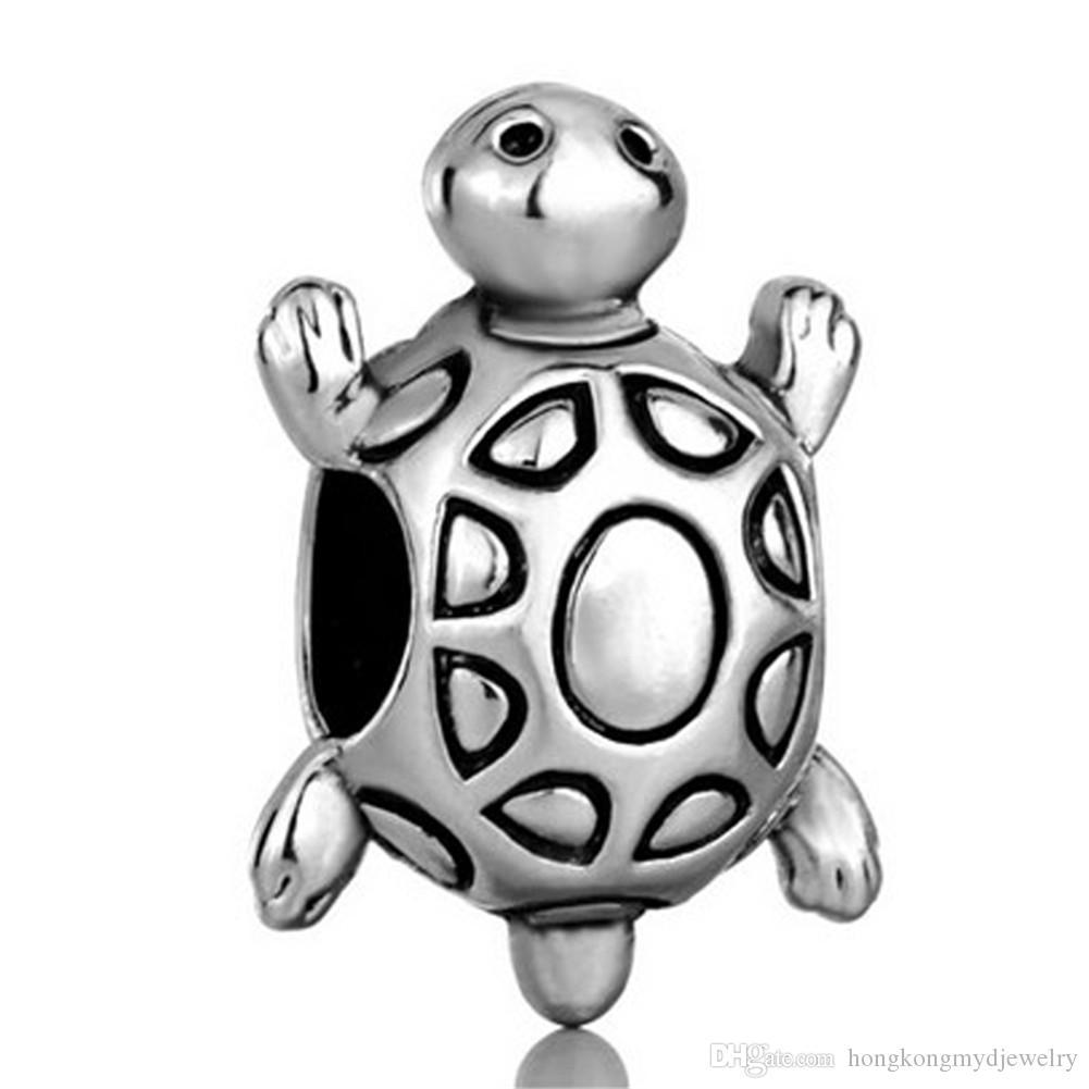 10 шт. в лот родиевое покрытие море старая Черепаха шарик морской Шарм Fit Pandora браслет