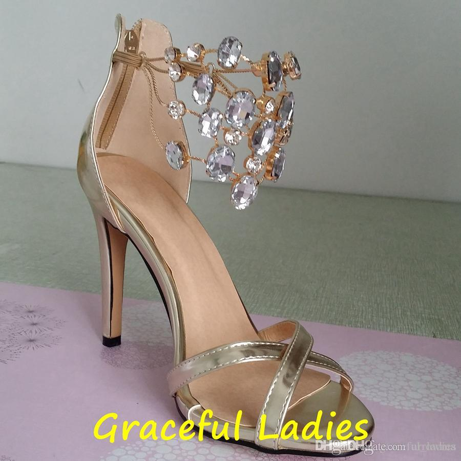 2016 Crystal Wedding Shoes Real Image Gold Bridal Shoes Rhinestone Plus Size Cheap Bridal Accessories Chain High Thin Heels Ladies Sandals
