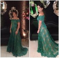 Elegant Off The Shoulder Dark Green Lace Evening Dress With Sleeves Long Robe De Soiree 2015 Sweep Train formal evening gowns