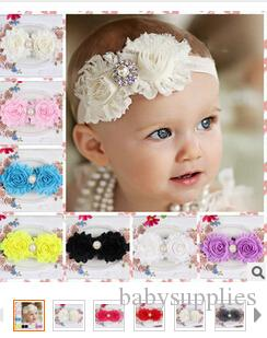 The new Children's hair band worn with pearls flash diamond flower hair band baby headband 12 colors 20pcs