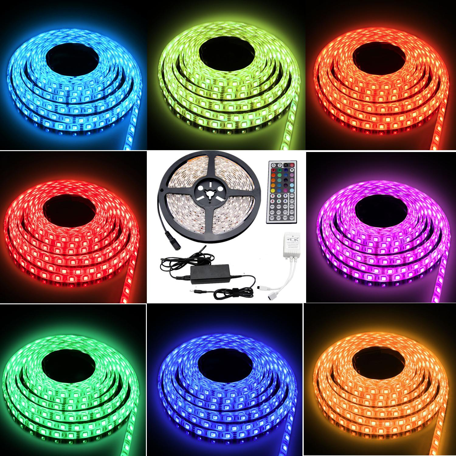 Besdata 164ft 5m waterproof rope lights 300 led 5050 smd color besdata 164ft 5m waterproof rope lights 300 led 5050 smd color changing redgb12v 5a power supply44 key remoteir controller muliti color 2018 from aloadofball Image collections