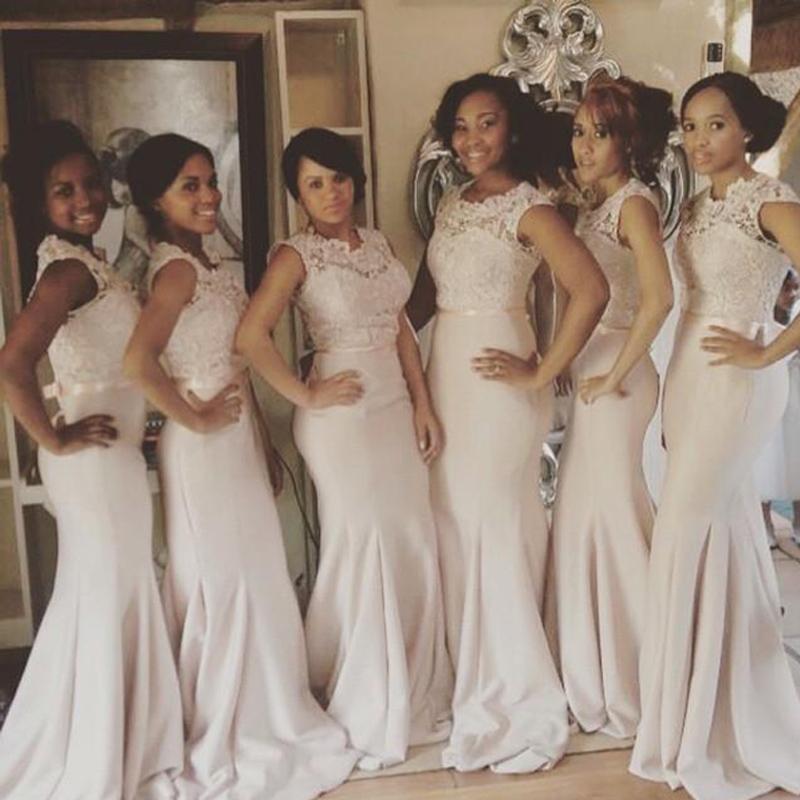 Gorąca Sprzedaż Syrenki Druhna Dresses Cap Rękawy Illusion Crew Neck Lace Top Fitted Wedding Party Suknie Formalna Prom Sukienka