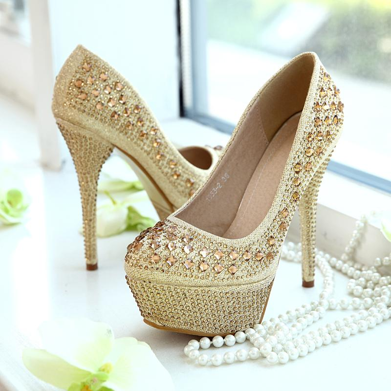 Bling Gold Rhinestone Round Toe Wedding Shoes Women High Heels
