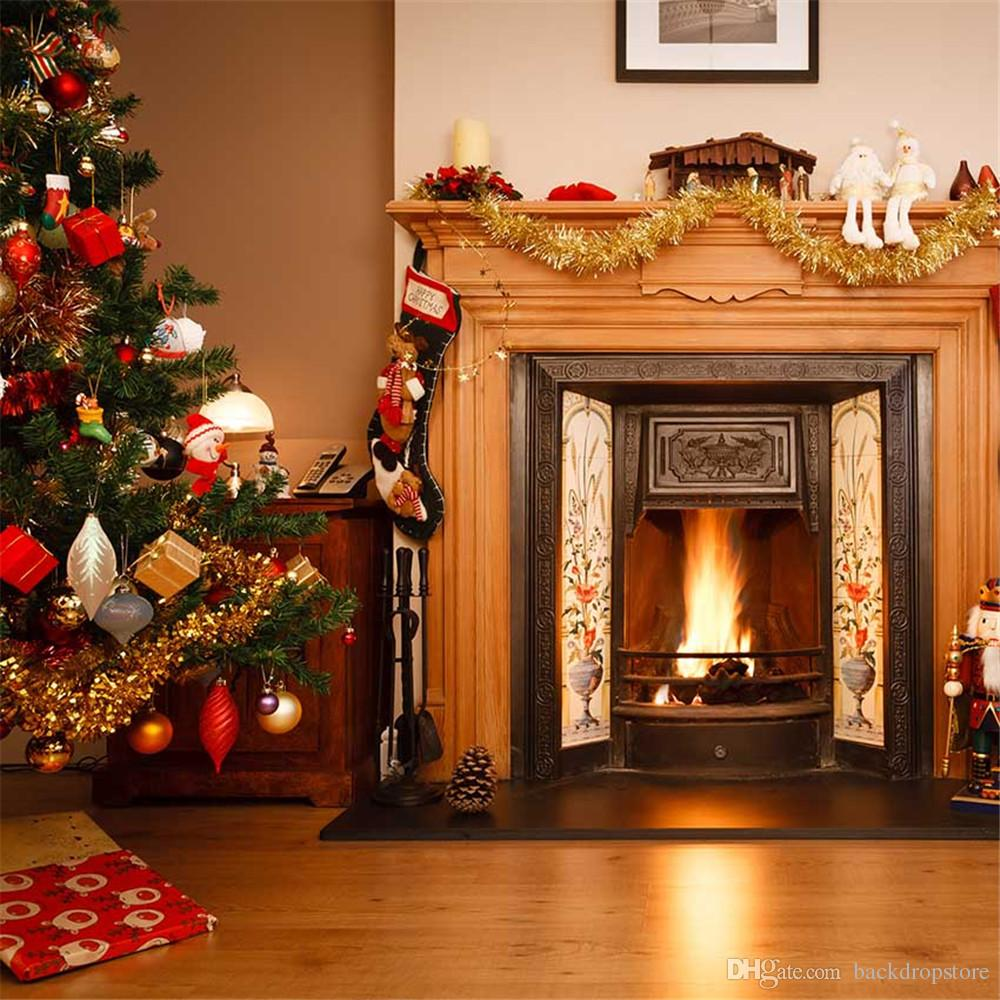 Fireplace Christmas.Merry Christmas Fireplace Background For Kids Children Indoor Photo Shoot Wallpaper Vinyl Xmas Tree Winter Holiday Photography Backdrops Canada 2019
