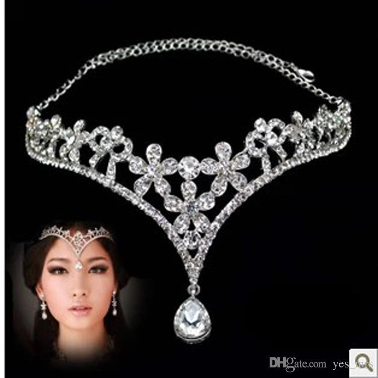 Imagen real Estilo coreano Pubres Mujeres Austria Cristal V Forma Gota de agua Crown Tiaras Hairwear Wedding Bridal Jewelry Accesorio