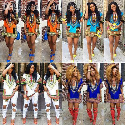 도매 패션 여성 전통적인 아프리카 인쇄 다시 키 드레스 짧은 소매 파티 드레스