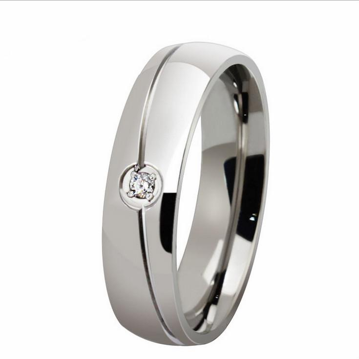 Free Engraving 1PC Mens Womens 6MM Titanium Stainless Steel Wedding Ring Crystal CZ Inlaid Domed Band US Size 5-13