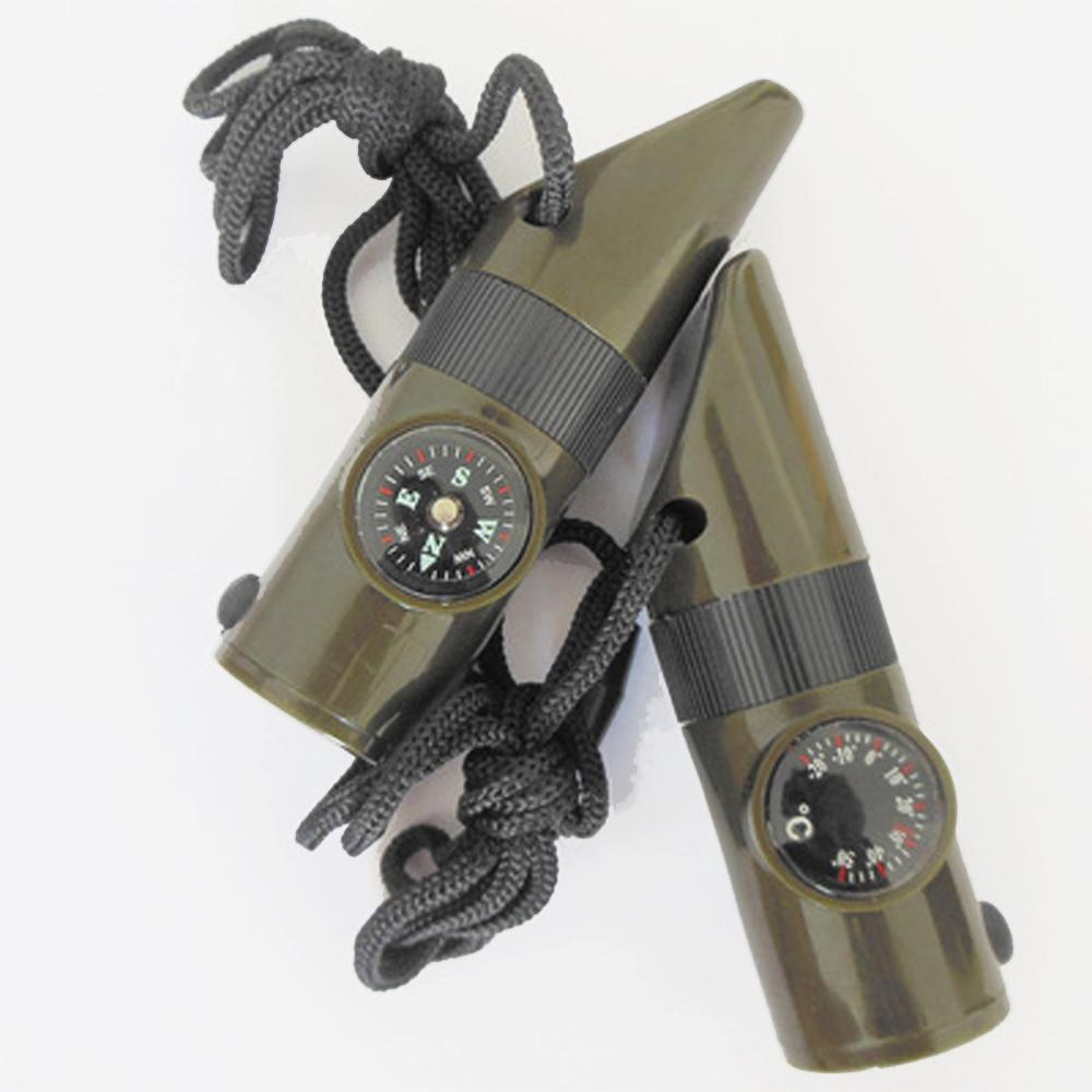 7 In1 Multifunctional Survival Kit Whistle Compass Thermometer LED Flashlight Fire Magnifier Camping Military Survival SOS tool