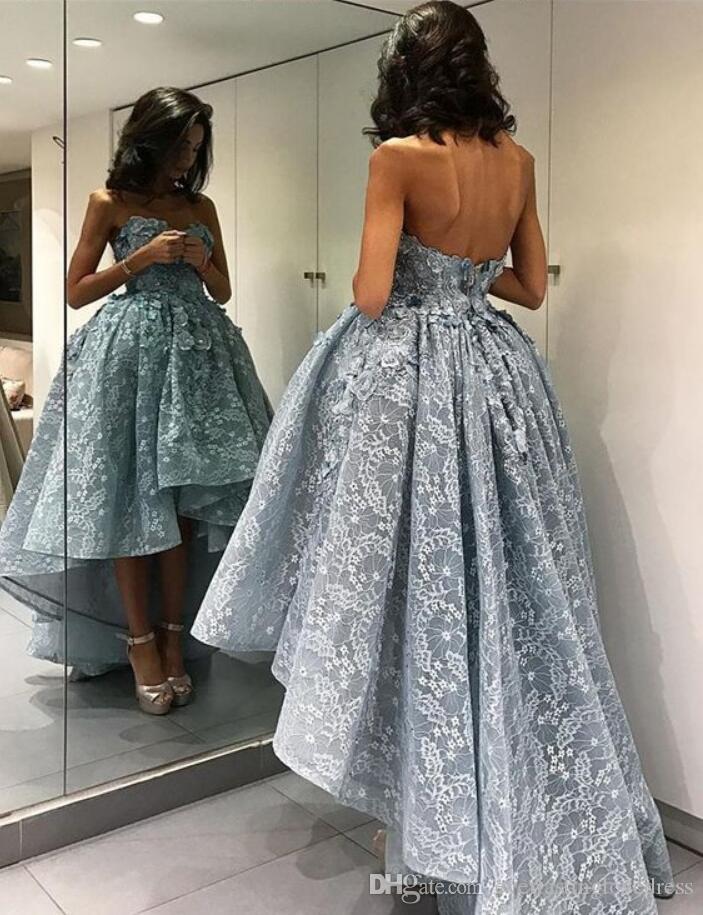 Zarte Applique High-Low Puffy Prom Dresses Kurze Vorderseite Langnachkugel Kleider Abendkleider Formale Partykleider PD2302