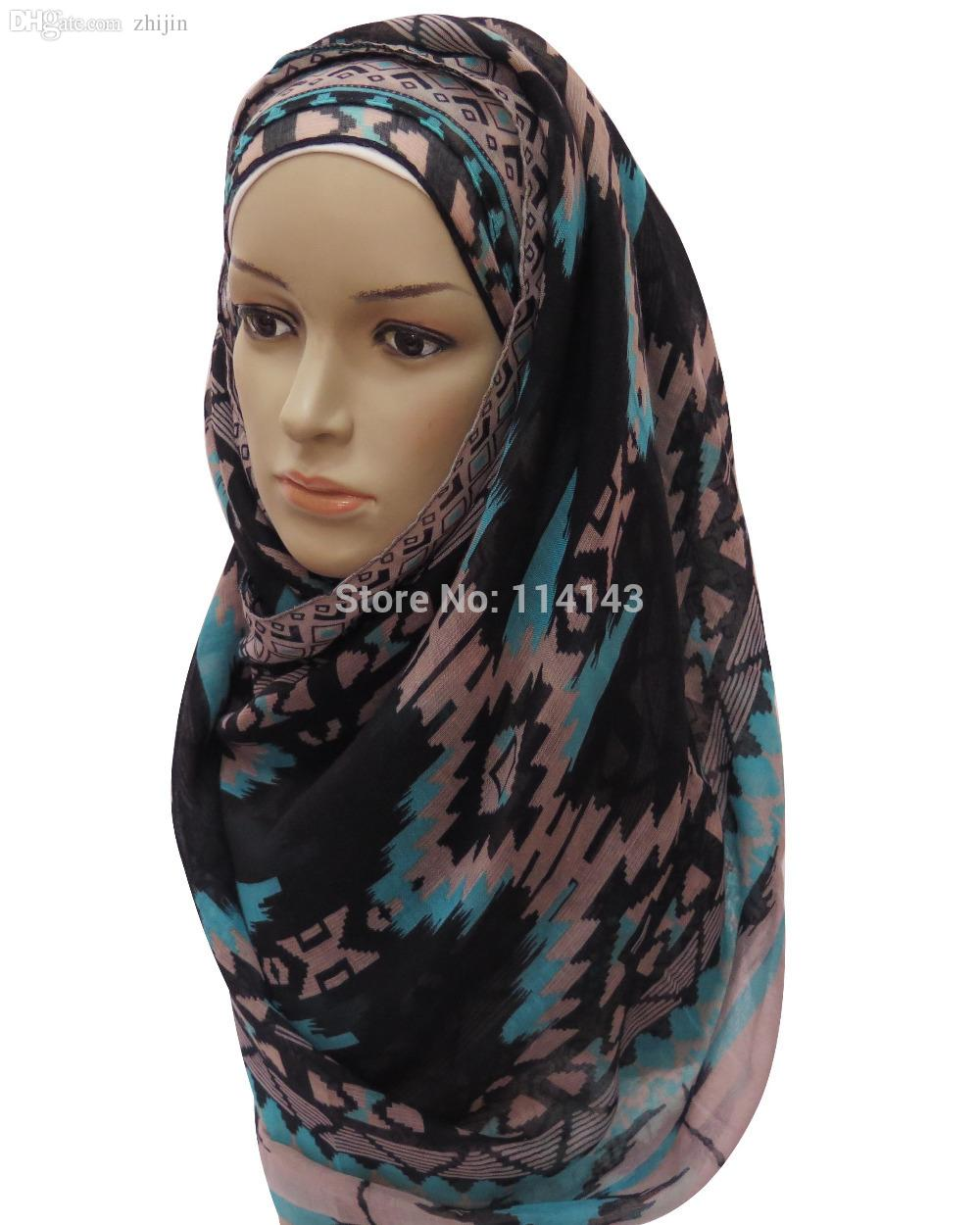 Großhandels-10pcs / lot Stammes- aztekische Boho Geo-Druck-Frauen langer Schal-Moslem-Hijab-Verpackung, freies Verschiffen