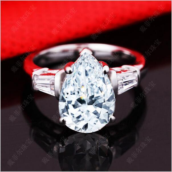 레트로 Moissanite 여성 반지 925 실버 Iinlaid 3 캐럿 드롭 컷 시뮬레이션 다이아몬드 결혼이나 약혼 반지 연인 럭셔리 유로 아메리칸