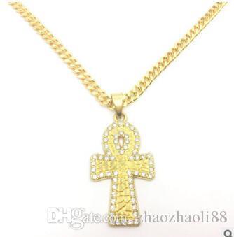 Ägyptischer Diamant Anka Key Cross Ägyptische Ankh Key Hip Hop Männer und Frauen Halsketten