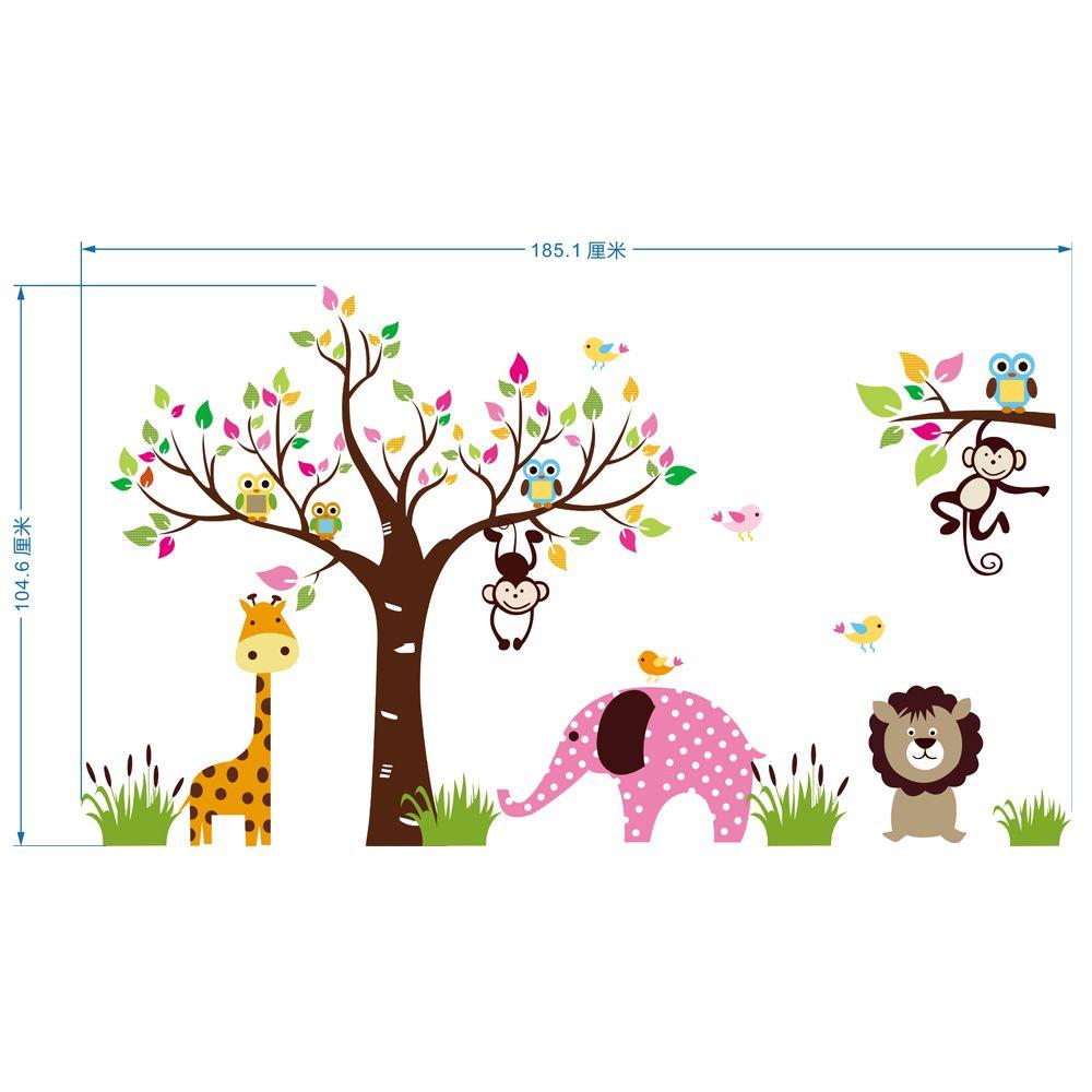 Animali di grandi dimensioni Paradise Wall Art Mural Poster Decor Parco per bambini Scuola materna Decorazione murale Adesivo Adesivo Decorazioni per bambini