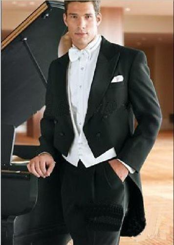 Popular Tailcoat Groom custom made Men Wedding Suits (Jacket+Pants+vest+tie) A06
