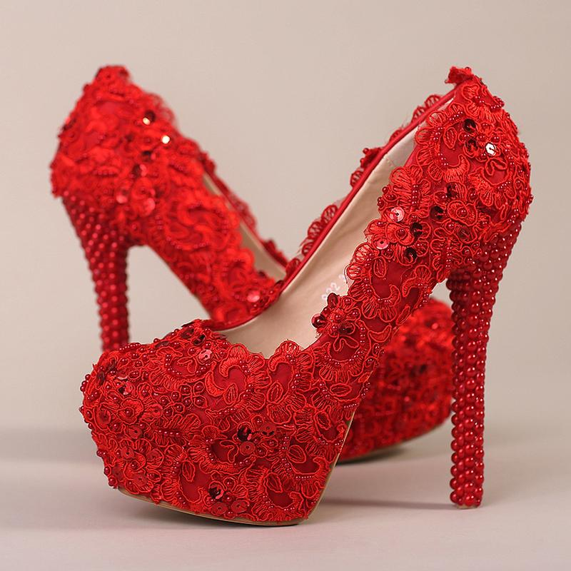 Rode bruids hoge hak bloem kant trouw schoenen prom schoen bruidsmeisje avond party spike rode pompen beroemdheid stiletto