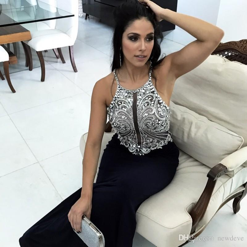 Sparkly Kristaller Uzun Akşam elbise Dubai Hint Balo Elbise Halter Seksi Siyah Mermaid Elbiseler Parti Akşam Custom Made