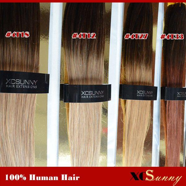 XCSUNNY 18 20 pouces Virgin Virgin Ombre Extension de cheveux de bande 6a Extensions de cheveux de bande 40pcs 100g / pack Bande Dans Extensions de cheveux humains