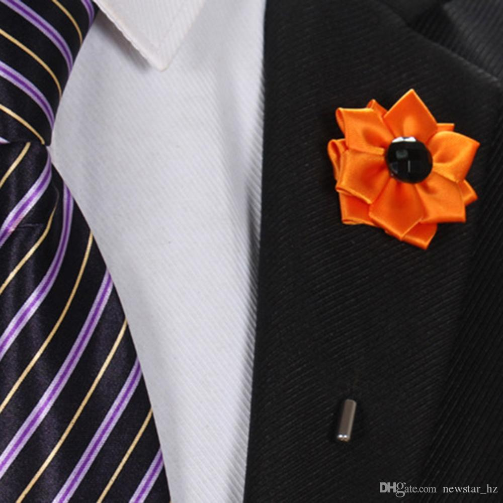 New 20 Colors Handmade Lapel Flower Brooches Pins Women Men Wedding Xmas Party Suit Ornament Corsage Boutonniere Stick Brooch Pin Wholesale