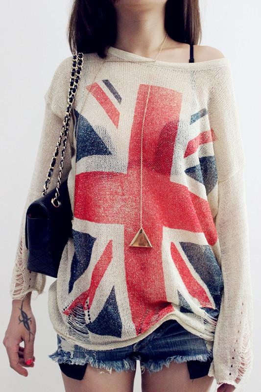 Autumn Winter New Wildfox British Flag Pattern Pullover Sweater Hollow Jumper Crochet Blouse Plus Size Loose Knitting Top Coat