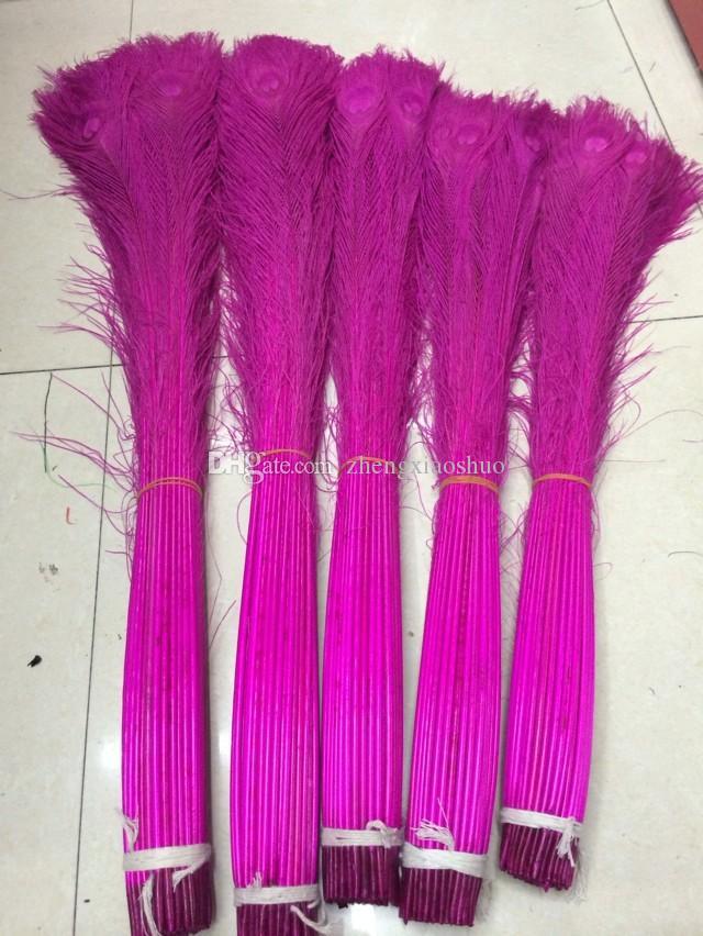 Бесплатная доставка 300 шт. / лот 30-35 дюймов ярко-розовый павлинье перо Павлиний глаз перо для костюмы декор ремесла событие питания декор