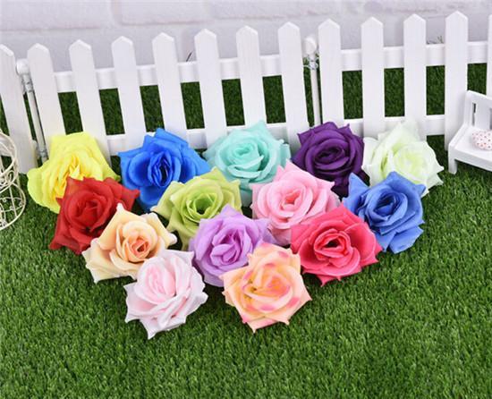 100PCs artificiell ros blomma huvuden 14 färger silke peony huvud plast camellia för bröllopsfest hem dekorativa blommor