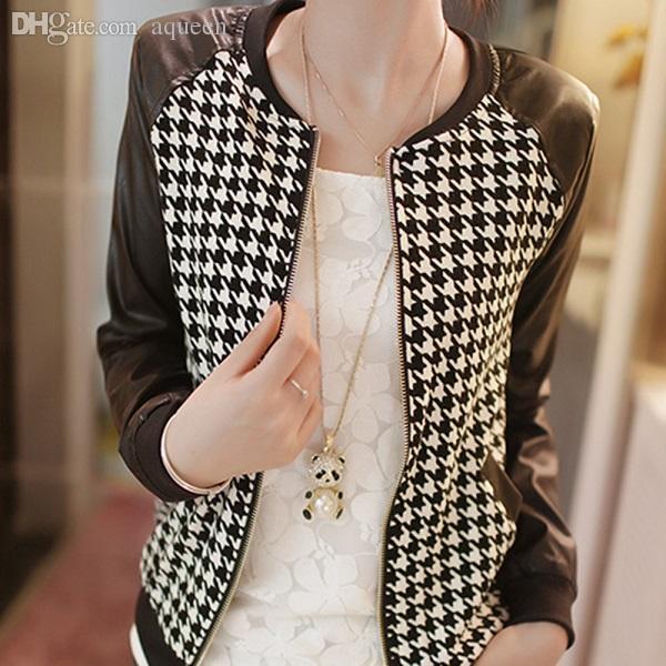 Al por mayor-Moda para mujer Cuero de la PU Costura chaqueta de manga larga abrigo a cuadros Outwear Nuevo