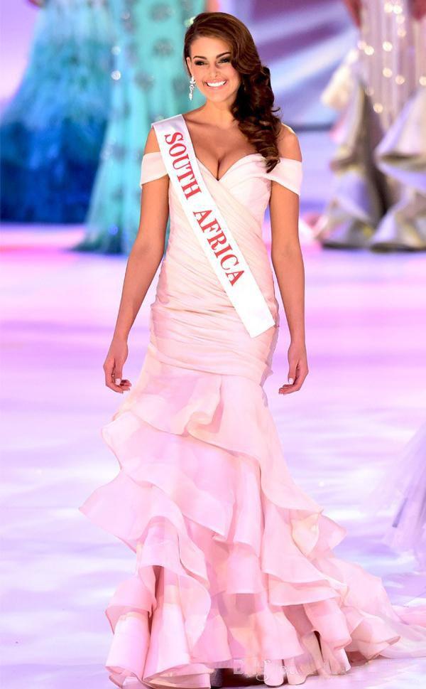 Compre Moda 2015 Red Carpet Runway Vestidos De Noche De Miss Mundo ...