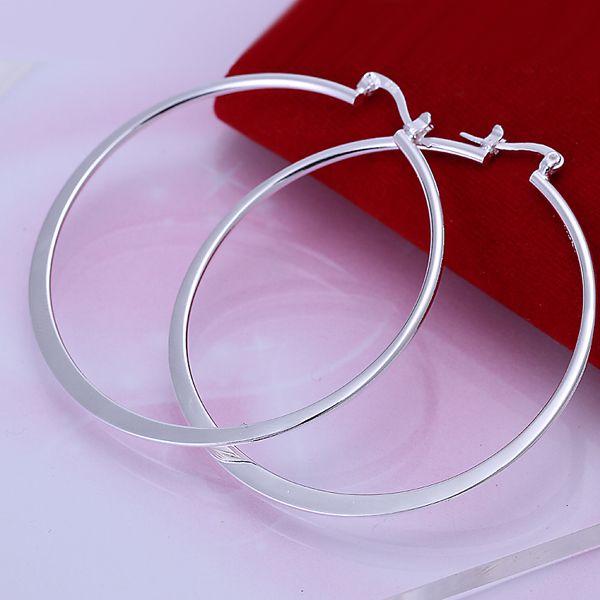 5.5cm Grandes círculos Pendientes de aro 925 de plata pura Prata Princo e043 Moda Nueva Joyería