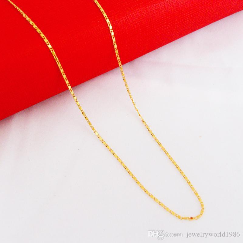 Snel gratis verzending Fijne bruiloft sieraden 24 k goud gevulde ketting ketting diamant snijden vrouwen kettingen Breedte: 1mm, lengte: 45cm, gewicht:.