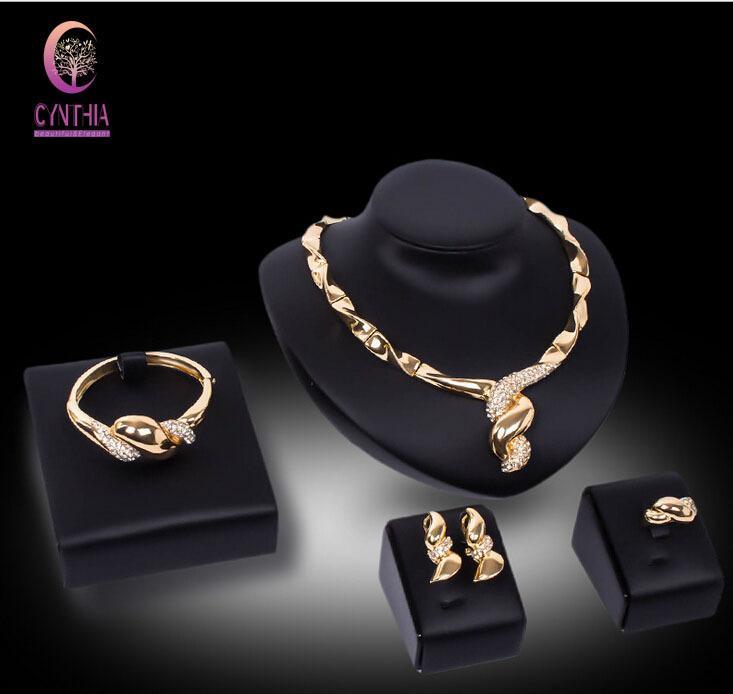 Fashion Dubai Jewelry Set Costume Jewelry Party Necklace Sets Fashion 18k Gold Plated Crystal Women Wedding Bridal Party Jewelry Sets