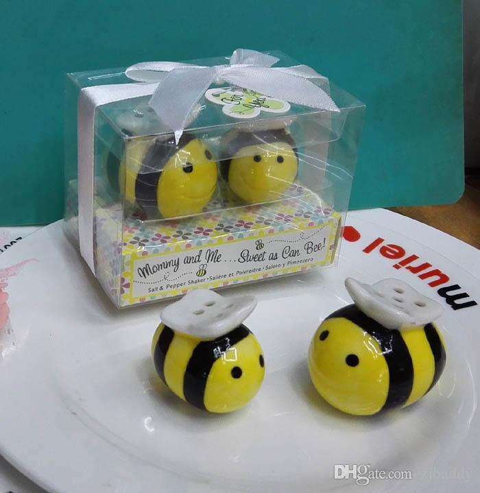 Wedding Party Favors and Baby Shower Gifts Mean To Bee Ceramic Salt and Pepper Shaker 100pcs(50sets) Best Quality